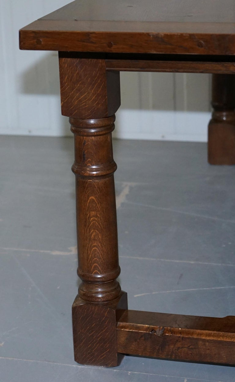 Vintage English Oak Refectory Dining Table Seats Upto 8