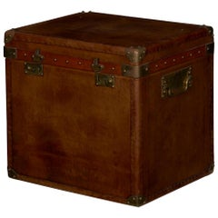 Vintage English Raw Patinated Leather Brass-Mounted Travel Trunk