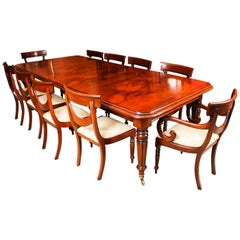 Vintage English Regency Revival Dining Table and 10 Chairs, 20th Century