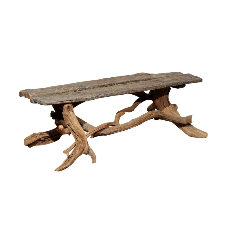 Vintage English Rustic Driftwood Bench With Tree Base And