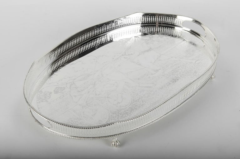 Vintage English Sheffield Silver Plated / Copper Footed Barware / Serving Tray For Sale 1