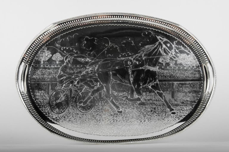 Vintage English Sheffield Silver Plated / Copper Footed Barware / Serving Tray For Sale 2