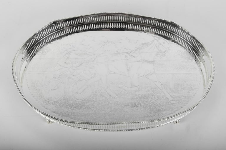 Vintage English Sheffield Silver Plated / Copper Footed Barware / Serving Tray For Sale 3