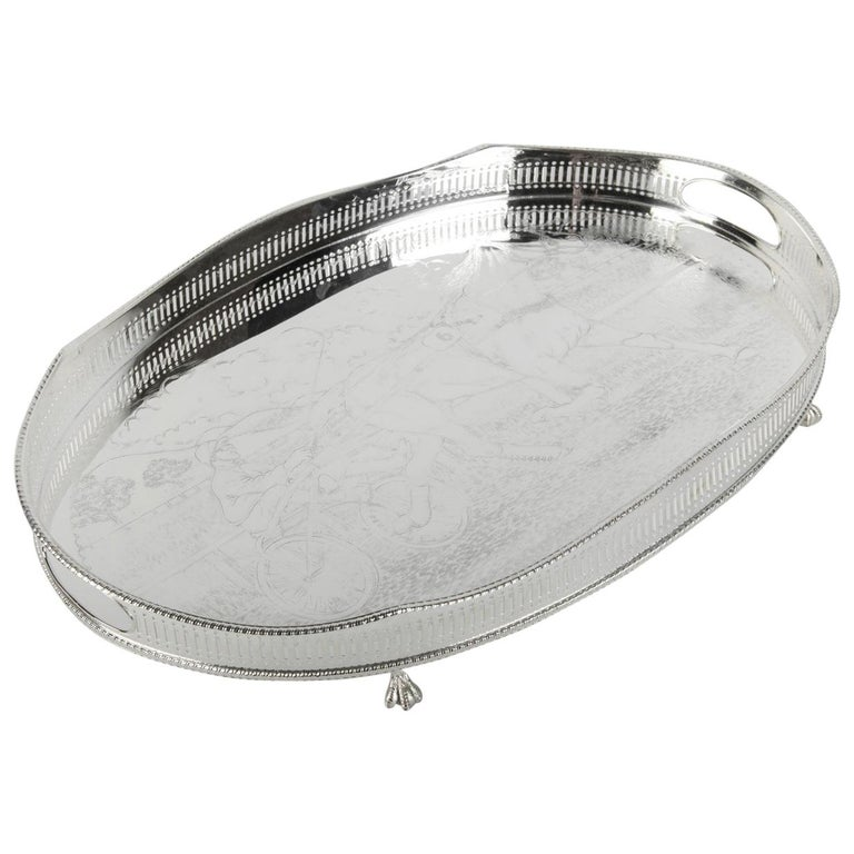 Vintage English Sheffield Silver Plated / Copper Footed Barware / Serving Tray For Sale