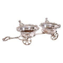 Vintage English Silver Plate Carriage Drinks / Decanter Holder