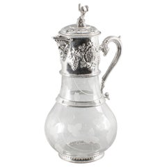 Vintage English Silver Plated and Glass Claret Jug, 20th Century