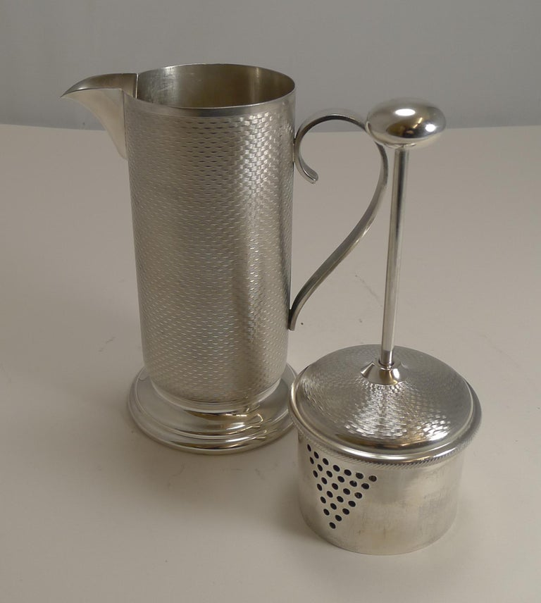 A wonderful and most unusual cocktail mixer, less of a shaker and looking rather like a coffee pot or cafetiere.