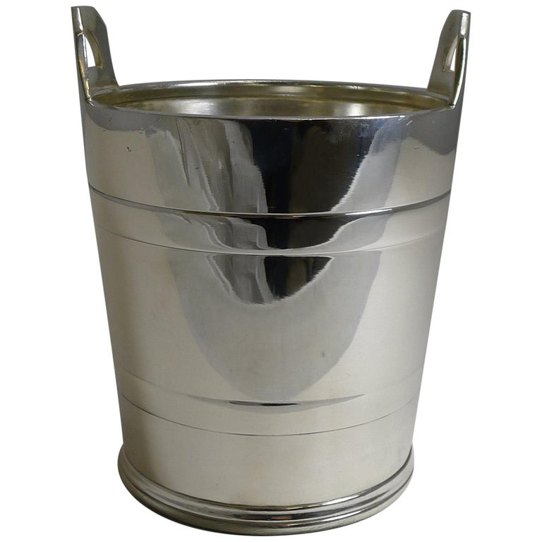 Vintage English Silver Plated Ice Bucket by Elkington and Co. For Sale