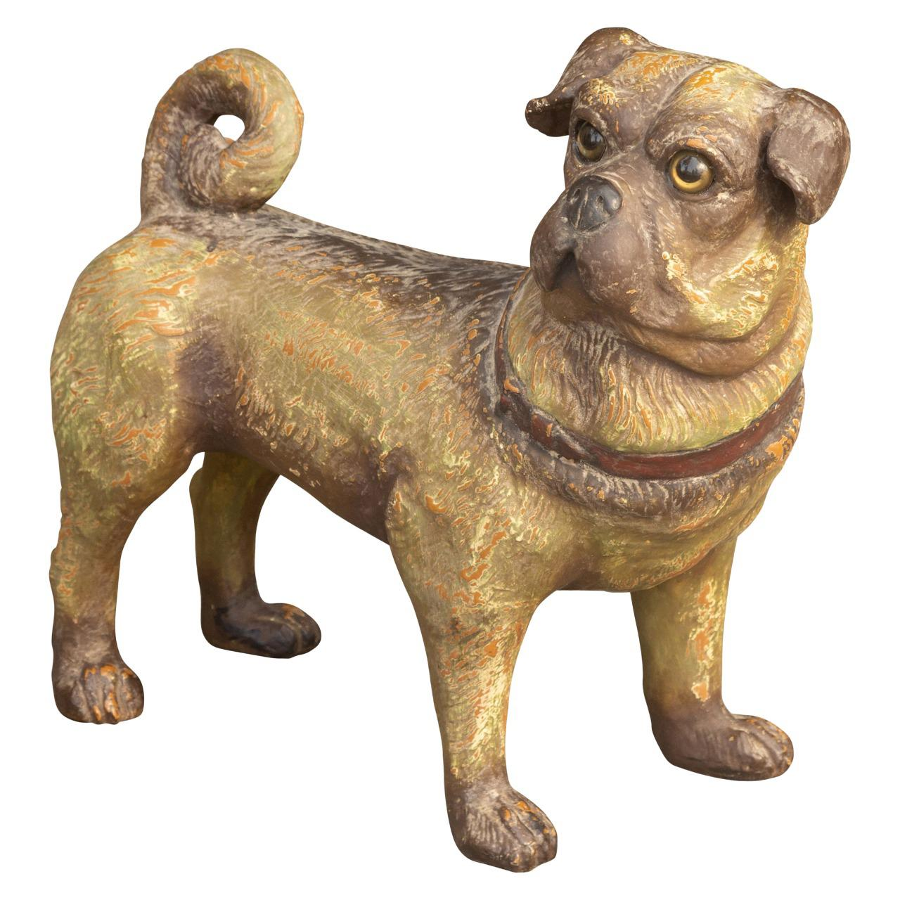 Vintage English Standing Pug Composition Sculpture with Glass Eyes and Collar