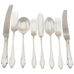 Vintage English Sterling Silver Canteen of Cutlery for Twelve Persons
