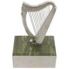 Vintage English Sterling Silver Harp Trophy by Edward Barnard & Sons Ltd