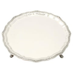 Vintage English Sterling Silver Salver Lindisfarne Style
