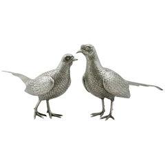 Vintage English Sterling Silver Table Pheasants