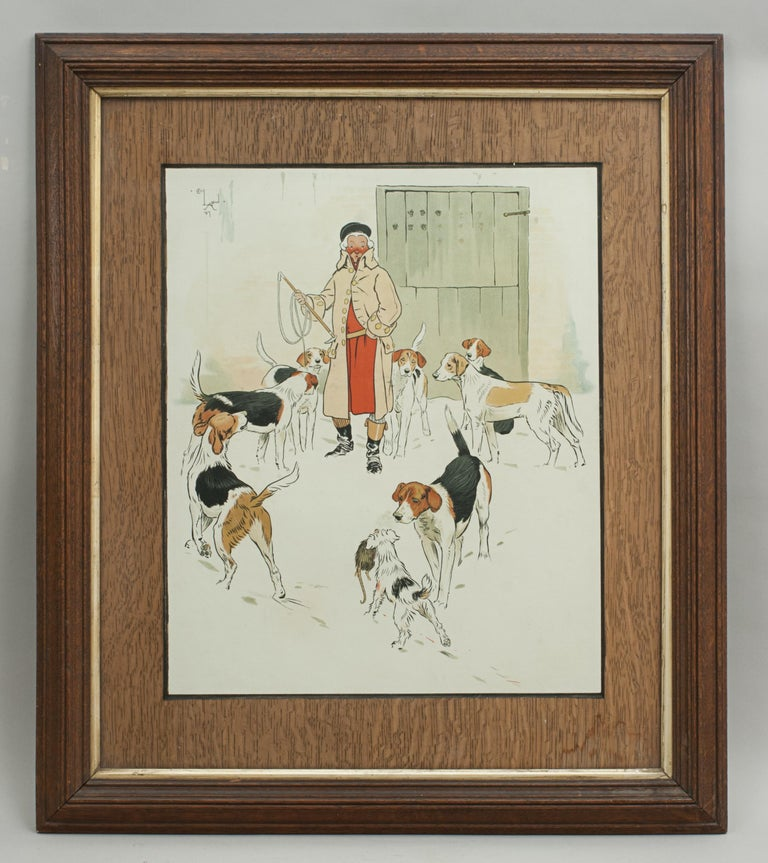 Every Dog Has His Day, Cecil Aldin. Early humorous hunting print by Cecil Aldin 'Every Dog Has His Day'. A great chromolithograph in original oak frame with gold slip and an oak mount. Image shows a little dog walking amongst the hunting pack with