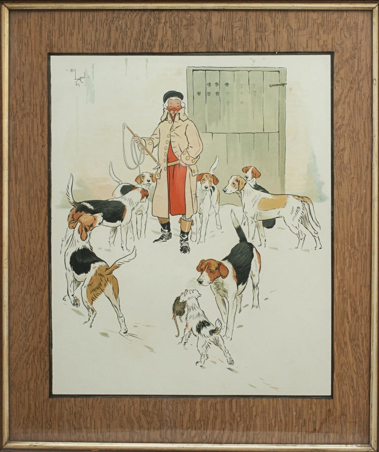 Sporting Art Vintage Equestrian, Cecil Aldin Hunting Print, Every Dog Has His Day For Sale