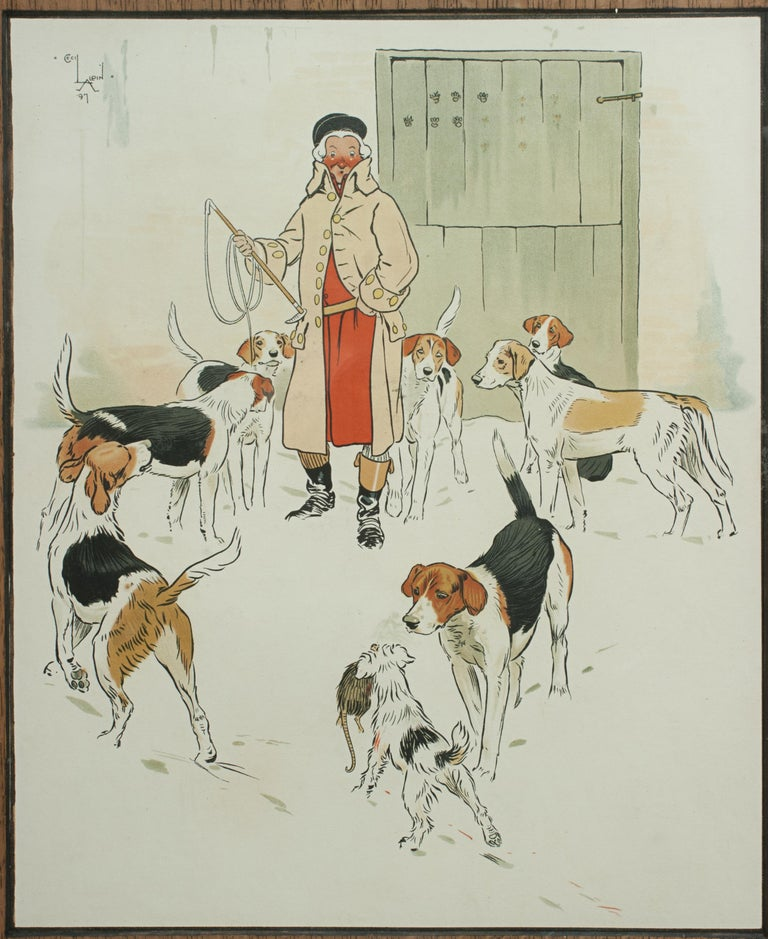English Vintage Equestrian, Cecil Aldin Hunting Print, Every Dog Has His Day For Sale