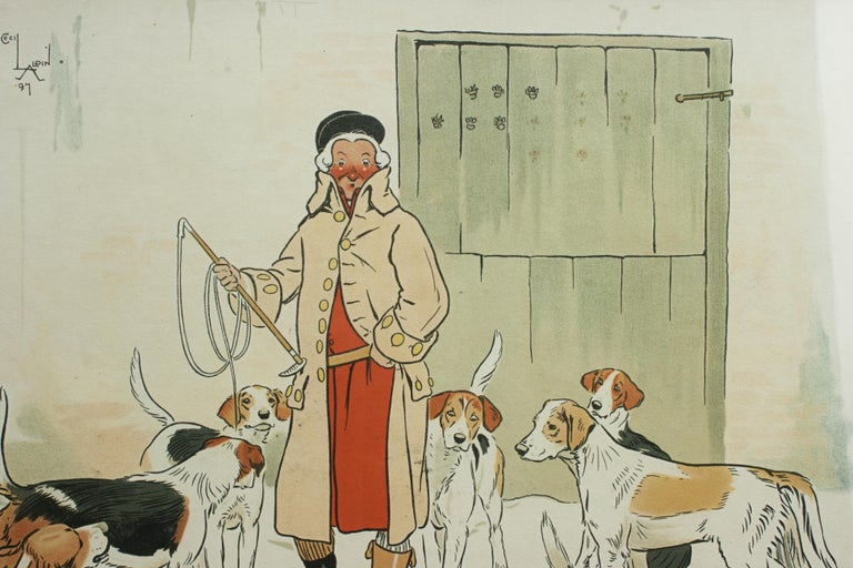 Oak Vintage Equestrian, Cecil Aldin Hunting Print, Every Dog Has His Day For Sale