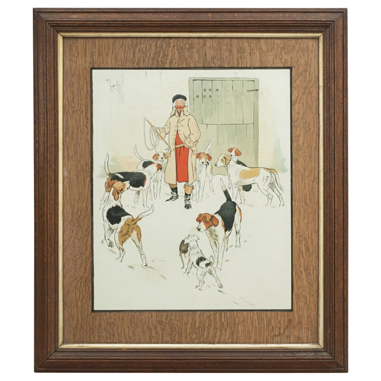 Vintage Equestrian, Cecil Aldin Hunting Print, Every Dog Has His Day For Sale