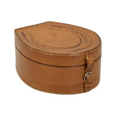 Vintage Equestrian Collar Box, Horseshoe Shape in Tan Leather