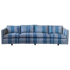 Vintage Erwin Lambeth Sofa Recovered in Blue Robert Kime Fabric
