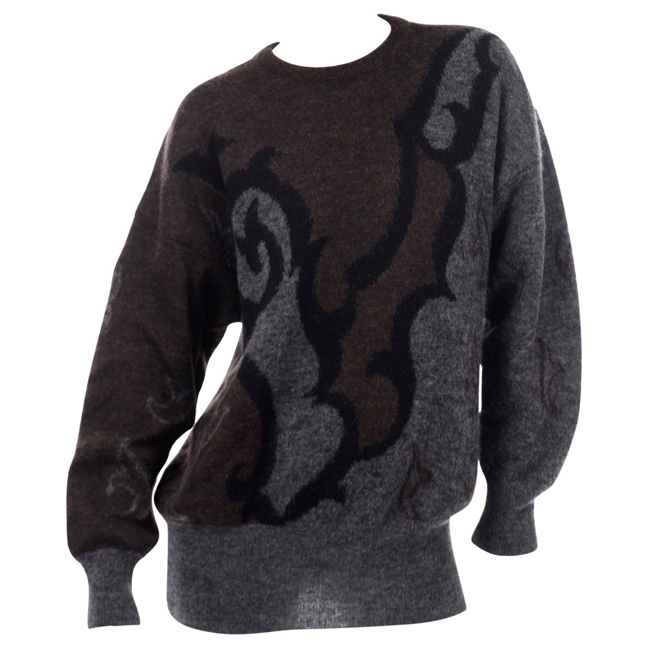 Vintage Escada Abstract Pullover Grey & Brown Sweater designed by Margaretha Ley