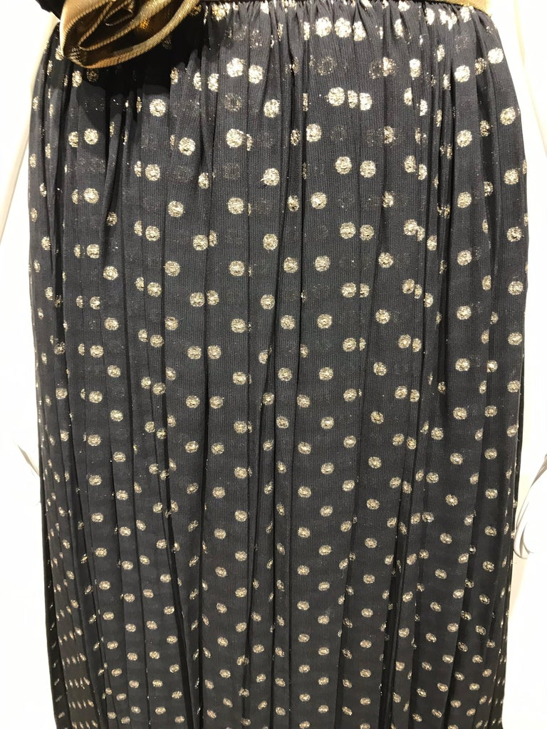 Vintage Escada Black and Gold Strapless Polkadot Lamé Cocktail Dress 8