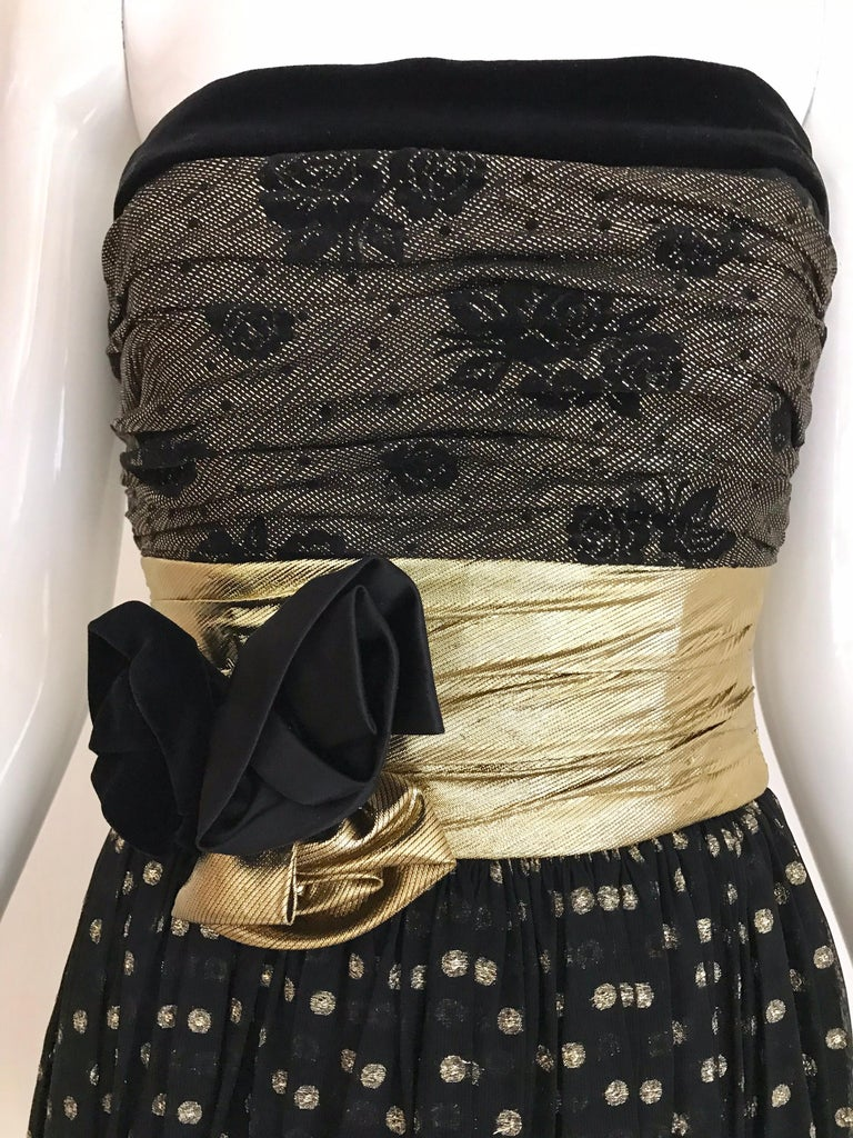 Vintage Escada Black and Gold Strapless Polkadot Lamé Cocktail Dress 9