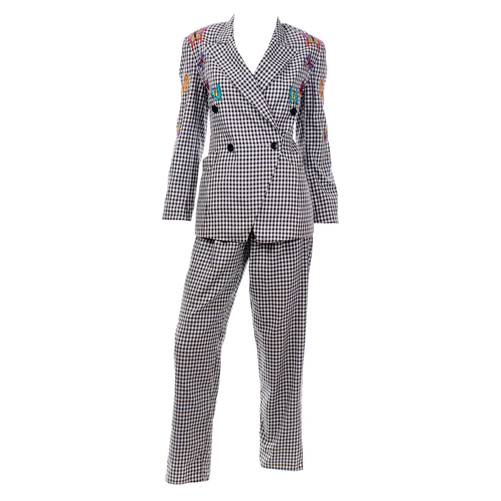 Vintage Escada Black & White Gingham Check Butterfly Applique Jacket & Pant Suit