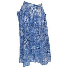 Vintage Escada Blue and White Cotton Skirt
