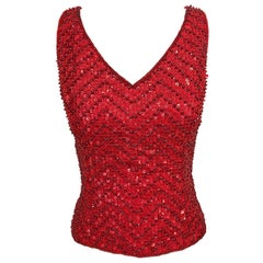 Vintage Escada Couture 1990s Red Sequin Beaded Lipstick Red 90s Sleeveless Top