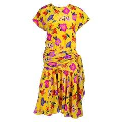 Vintage Escada Dress in a Yellow Floral Silk Print by Margaretha Ley Size 8/10