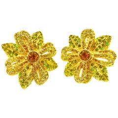 Vintage Escada Flower Earrings, 1980s