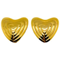 Vintage Escada Gold Concentric Heart Earrings by Co-founder Margaretha Ley 1980s
