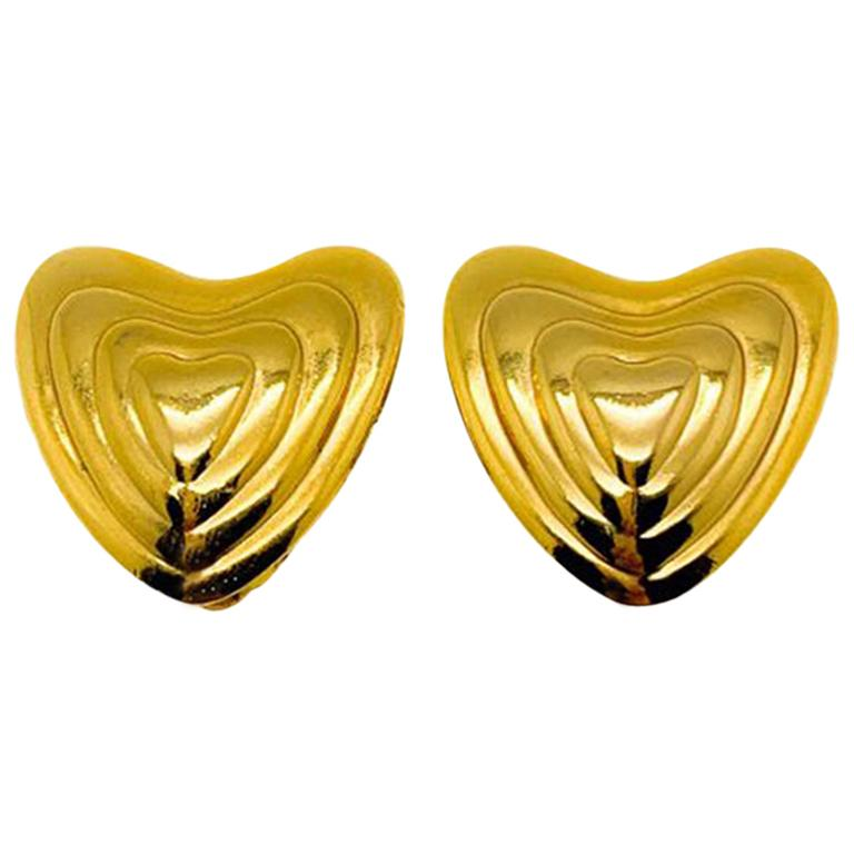 Vintage Escada Gold Concentric Heart Earrings by Co-founder Margaretha Ley 1980s For Sale
