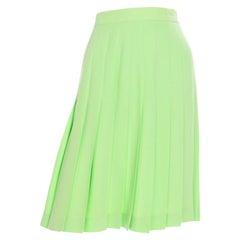 Vintage Escada Lime Green Lightweight Summer Wool Pleated Skirt