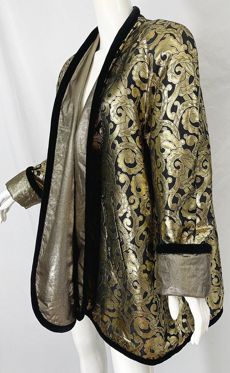 Vintage Escada Margaretha Ley 1980s Gold Black Silk 80s Swing Jacket Coat 6