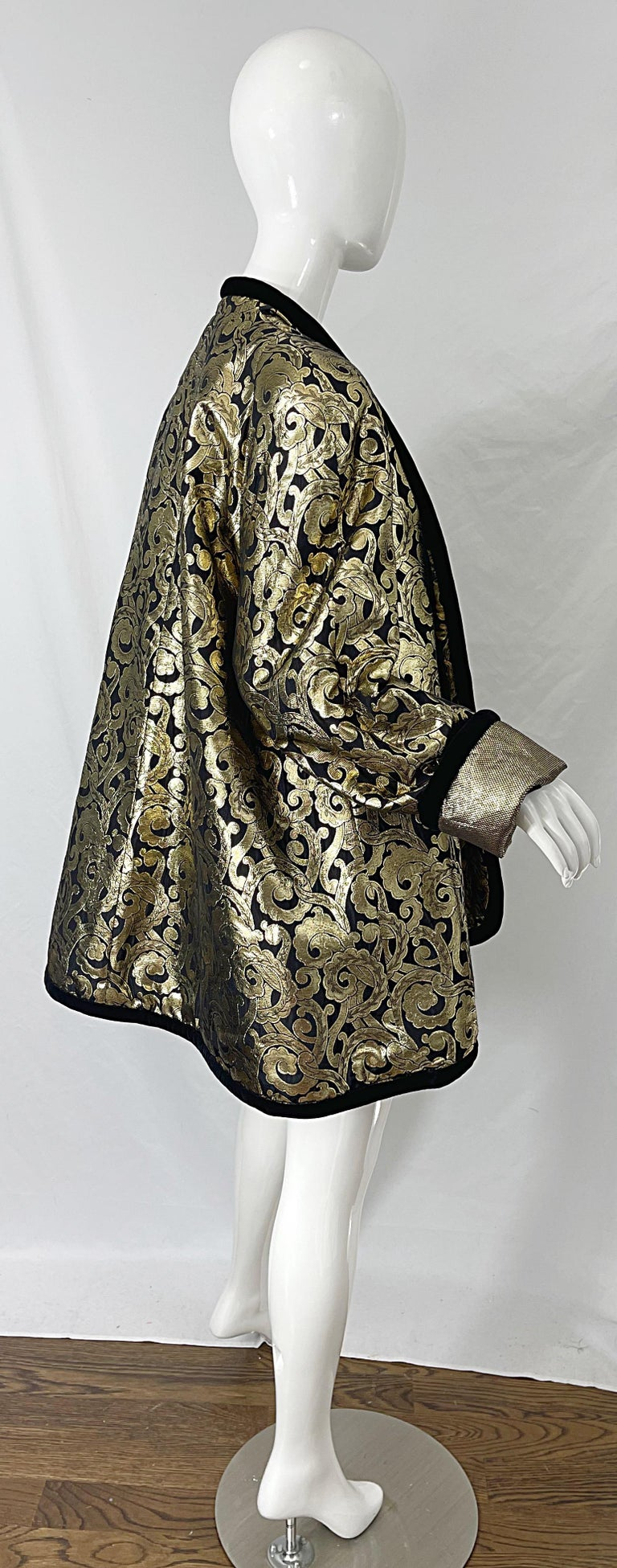 Vintage Escada Margaretha Ley 1980s Gold Black Silk 80s Swing Jacket Coat 7