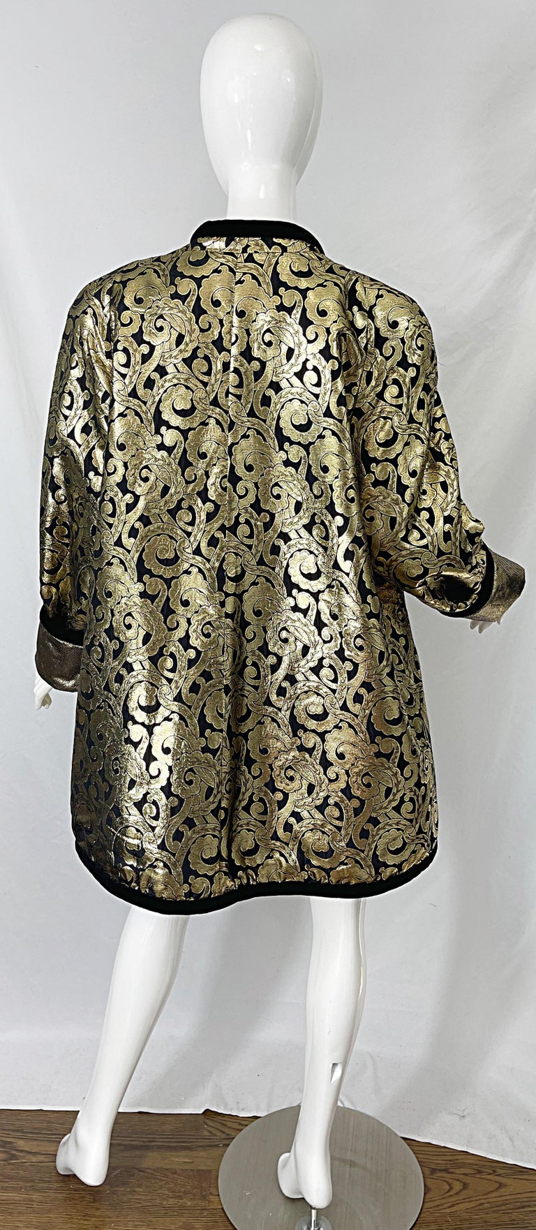 Vintage Escada Margaretha Ley 1980s Gold Black Silk 80s Swing Jacket Coat 8