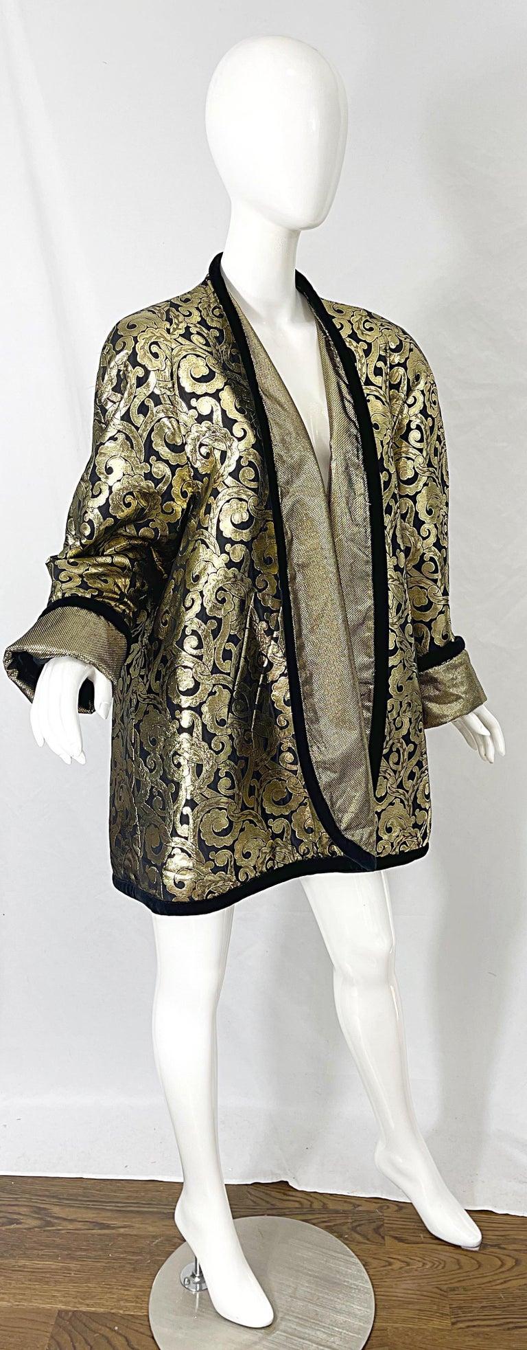 Vintage Escada Margaretha Ley 1980s Gold Black Silk 80s Swing Jacket Coat 9