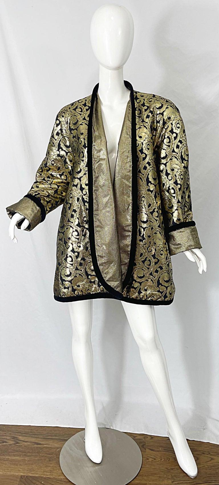 Vintage Escada Margaretha Ley 1980s Gold Black Silk 80s Swing Jacket Coat 10