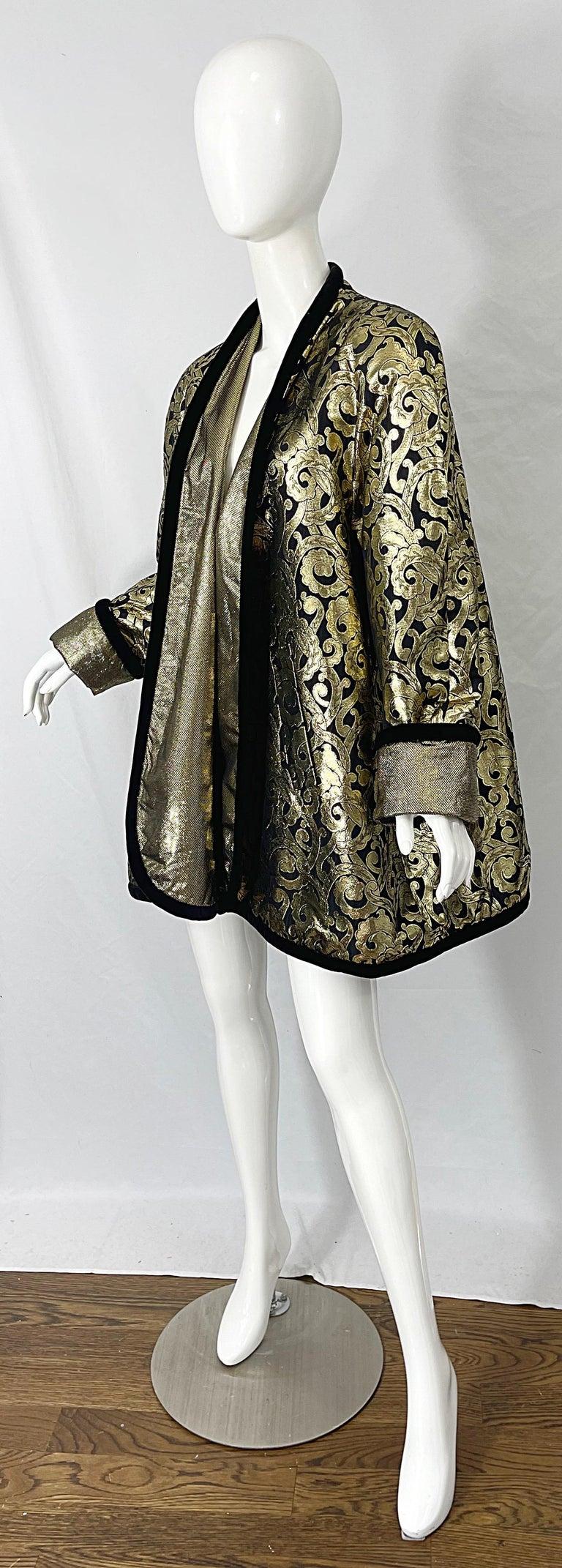 Women's Vintage Escada Margaretha Ley 1980s Gold Black Silk 80s Swing Jacket Coat