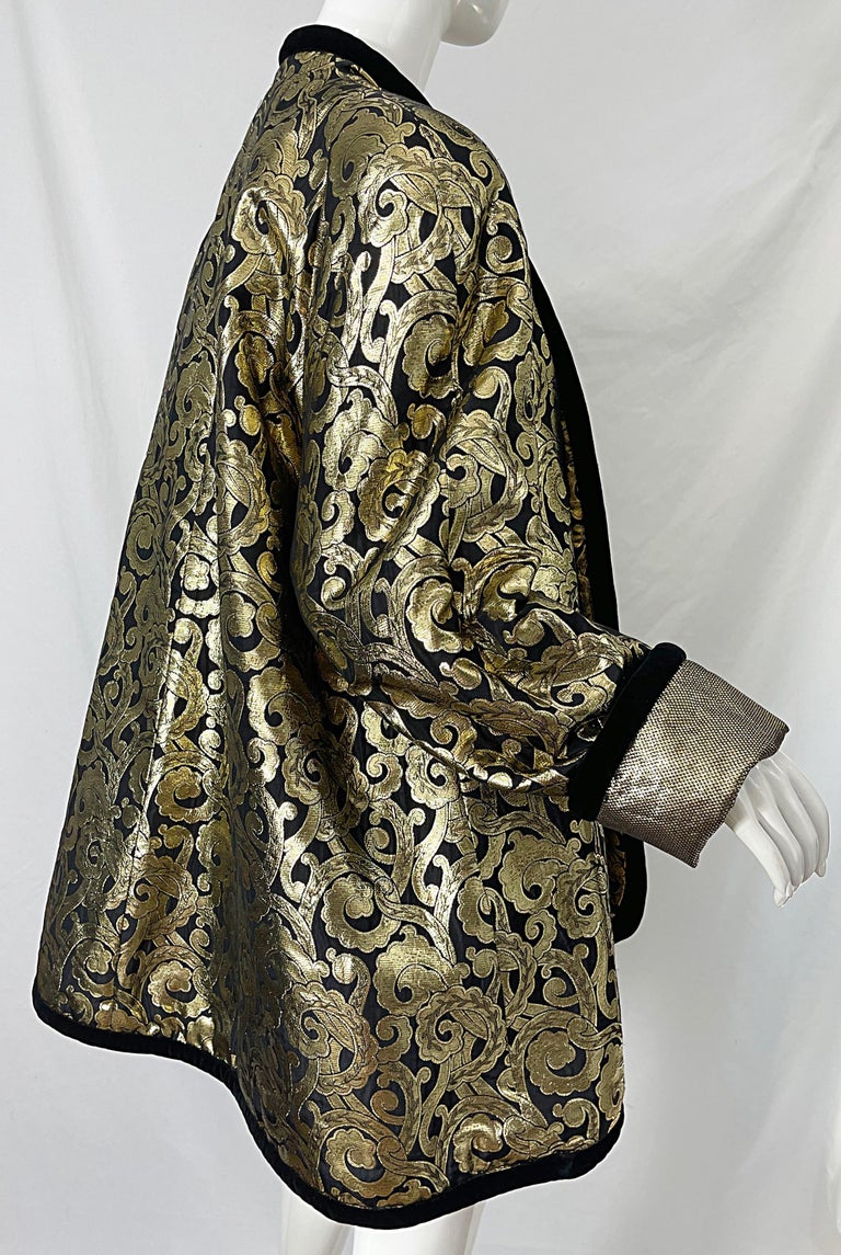 Vintage Escada Margaretha Ley 1980s Gold Black Silk 80s Swing Jacket Coat 1