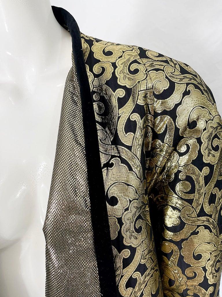 Vintage Escada Margaretha Ley 1980s Gold Black Silk 80s Swing Jacket Coat 2