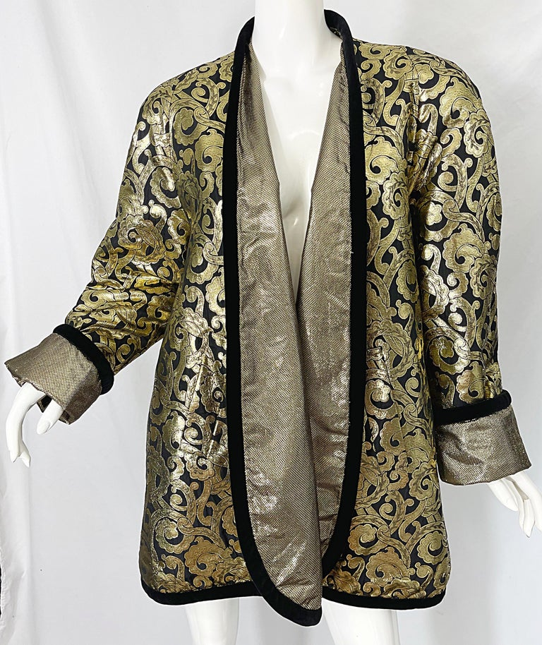 Vintage Escada Margaretha Ley 1980s Gold Black Silk 80s Swing Jacket Coat 3