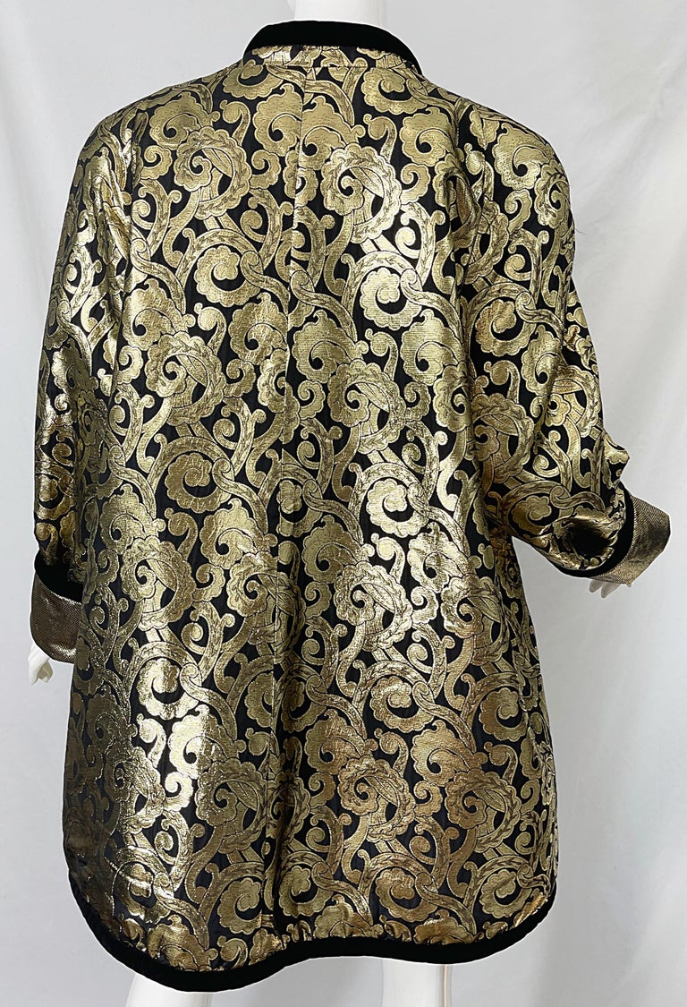 Vintage Escada Margaretha Ley 1980s Gold Black Silk 80s Swing Jacket Coat 4