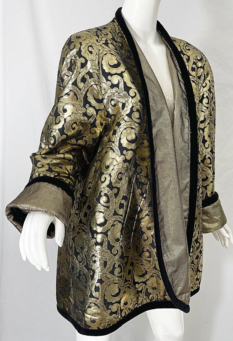 Vintage Escada Margaretha Ley 1980s Gold Black Silk 80s Swing Jacket Coat 5
