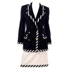 Vintage Escada Margaretha Ley Black & White Striped Skirt & Jacket Suit
