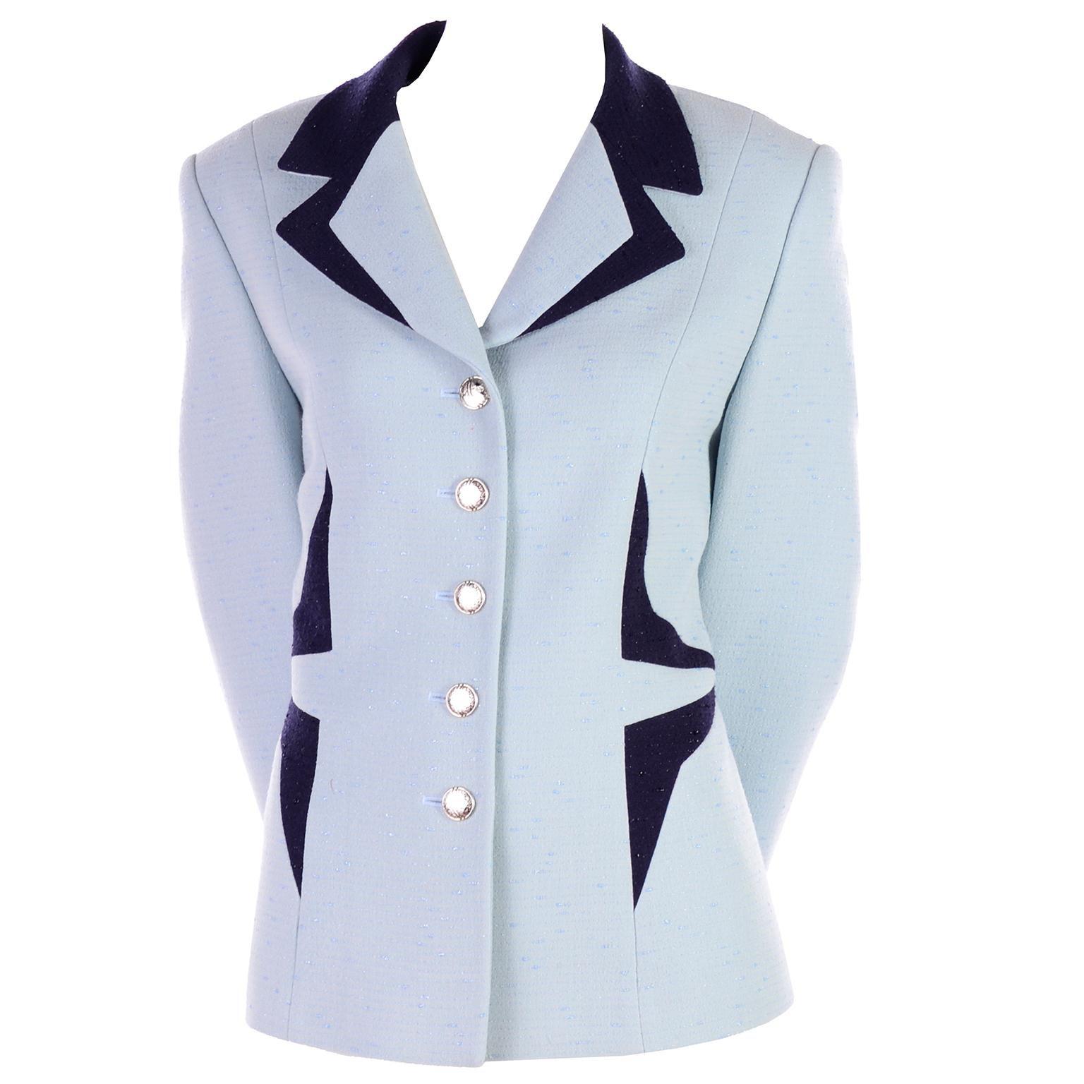 Vintage Escada Margaretha Ley Blue Blazer With Avant Garde Geometric Design