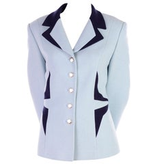 Vintage Escada Margaretha Ley Blue Blazer With Avant Garde Geometric Design