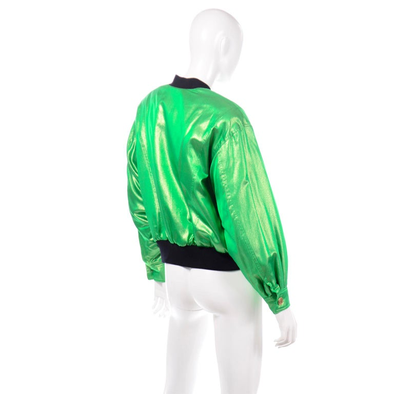Vintage Escada Margaretha Ley Iridescent Green Silk Bomber Jacket w Heart Lining In Excellent Condition For Sale In Portland, OR